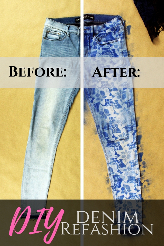 Easy DIY upcycle jean refashion tutorial. Use lace to create a stencil .