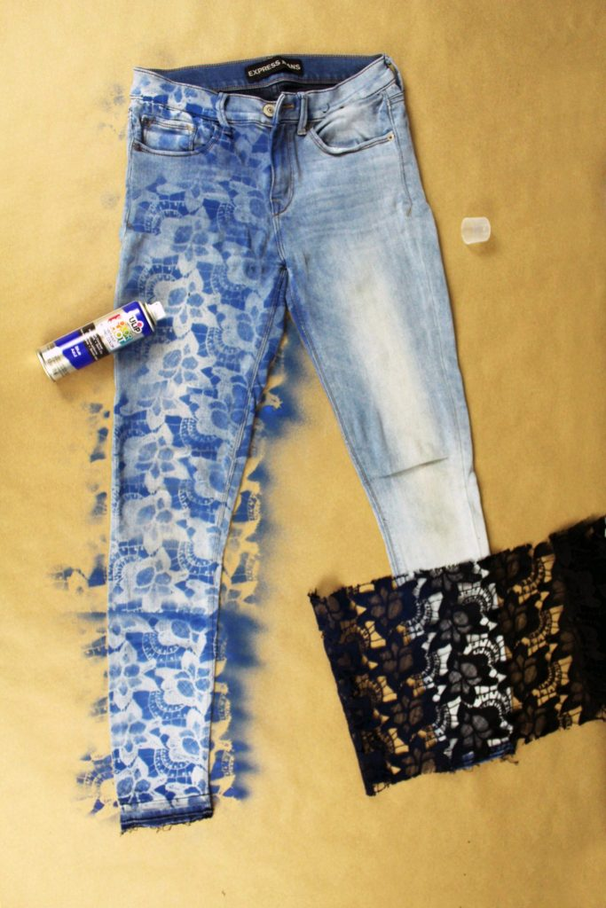 Easy DIY upcycle jeans refashion tutorial. Use lace to create a stencil