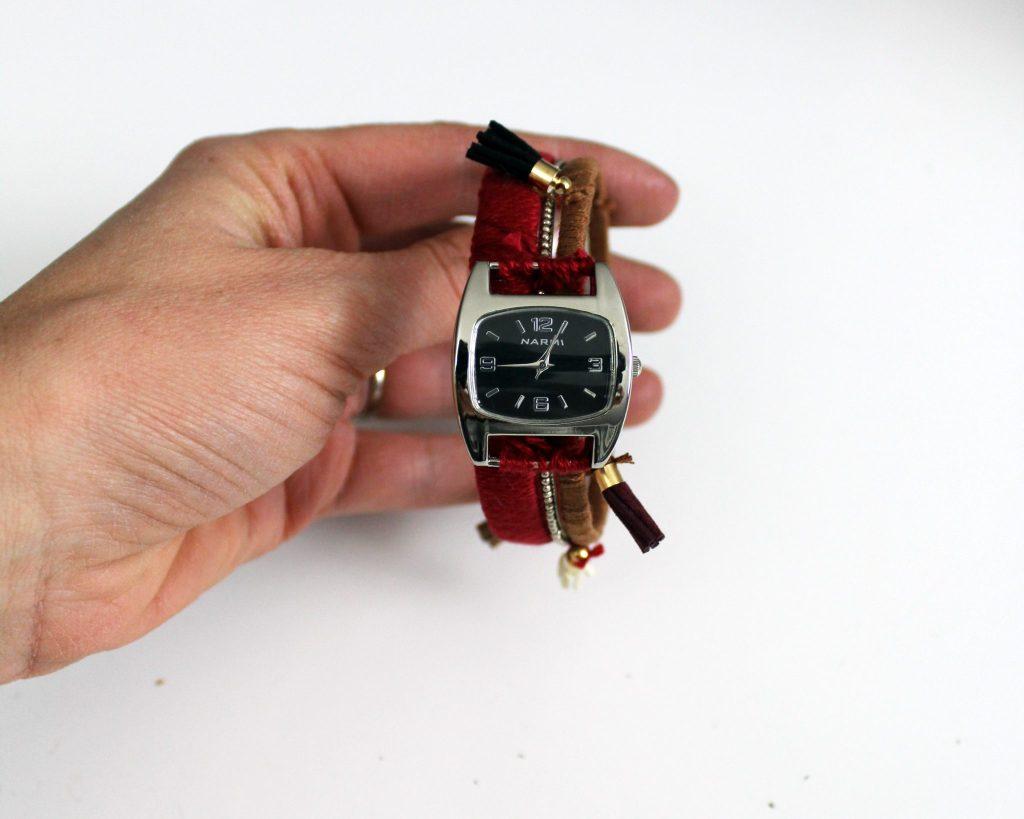 How to make a boho stacking bracelet watch . Bohemian tassle jewelry tutorial