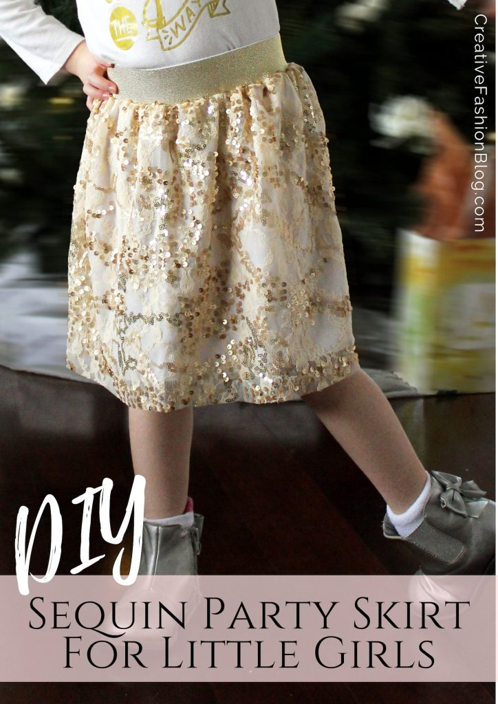 How to make a pull on elastic sequin party skirt for little girls from scratch