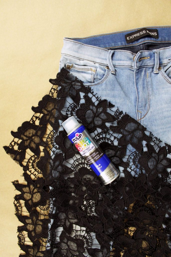 Supplies to make an Easy DIY upcycle jeans refashion tutorial. Use lace and paint to create a stencil
