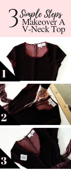 Thrift store makeover How to change the neckline of a top from a scoop neck to a v neck quick and easy DIY refashion.