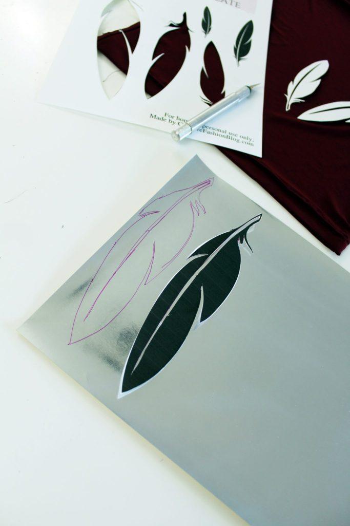 DIY a tshirt refashion with this FREE feather printable stencil
