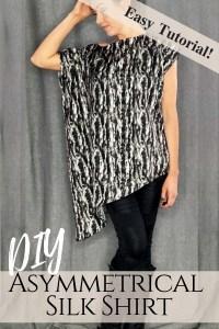 How to make a silk asymmetrical top. DIY new pattern shirt easy beginner sewing tutorial