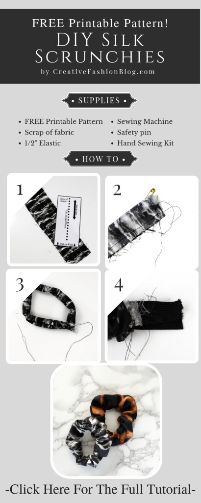 How to make a simple DIY scrunchie with a FREE printable pdf sewing pattern
