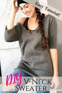 How to make your own vneck DIY sweater easy beginner sewing tutorial....