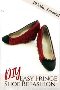 No sew DIY Fringe Heel makeoever. How to refashion your shoes with boho embellishments