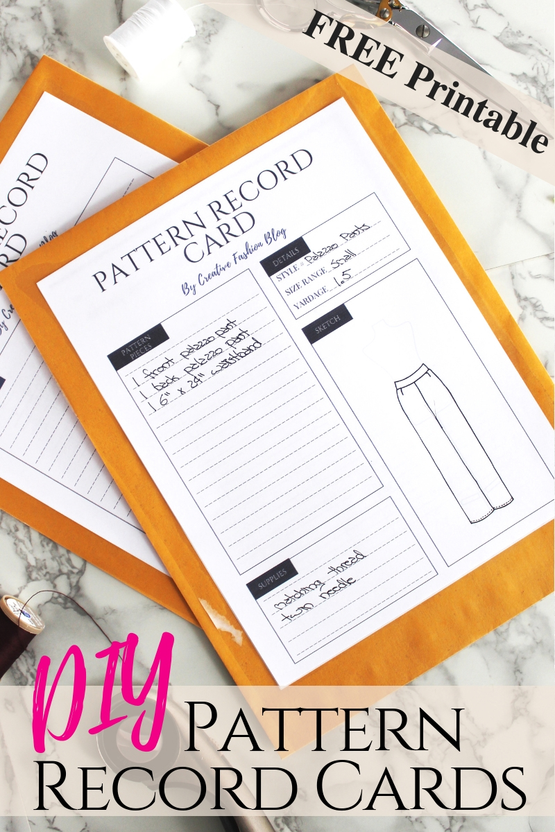 Free printable Pdf Sewing Pattern Record Card to organize your handmade sewing patterns