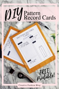 Free printable Pdf Sewing Pattern Record Card..