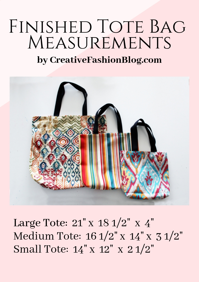 finished easy tote bag pattern measurements