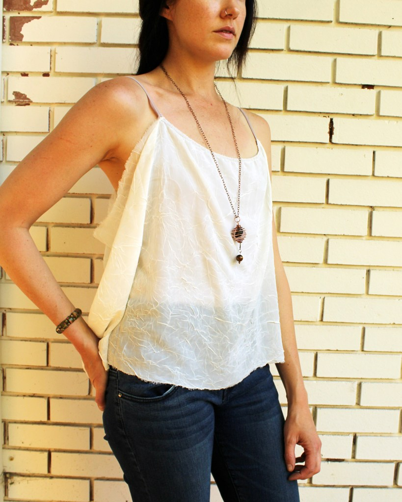 Make This Chiffon Draped Tank with this easy T-Shirt Refashion