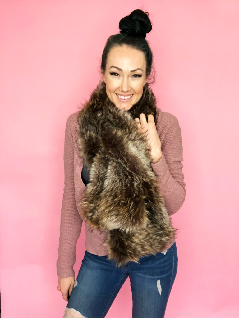 how to sew a faux fur pull through scarf