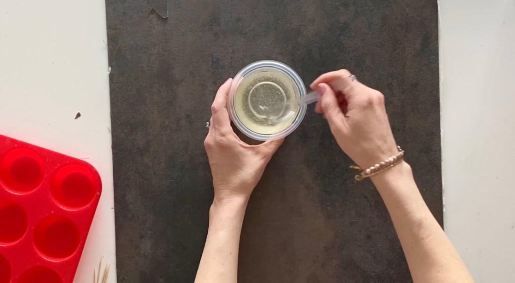 stirring resin to make sewing pattern weights