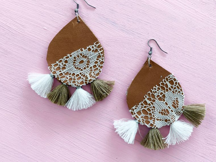 easy diy leather and lace earrings