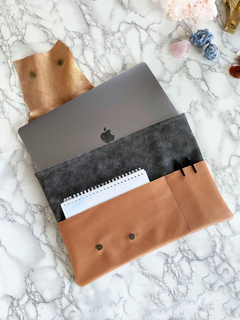 how to make a leather laptop pouch with easy sew along video