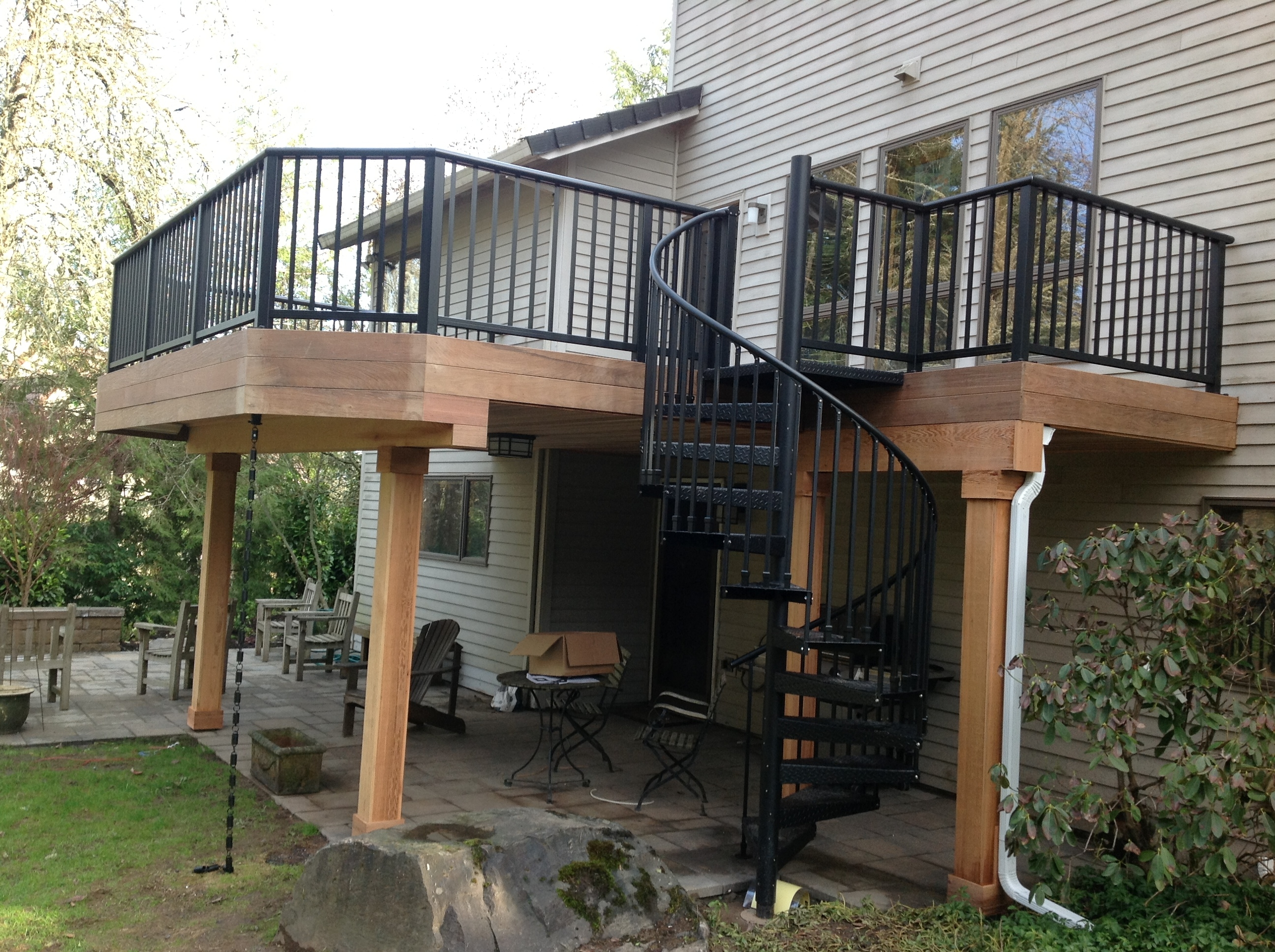 Ipe Deck Project In Lake Oswego Creative Fences Decks | Exterior Stairs To Second Floor | Commercial Exterior | Design | Two Story | Covered | Patio