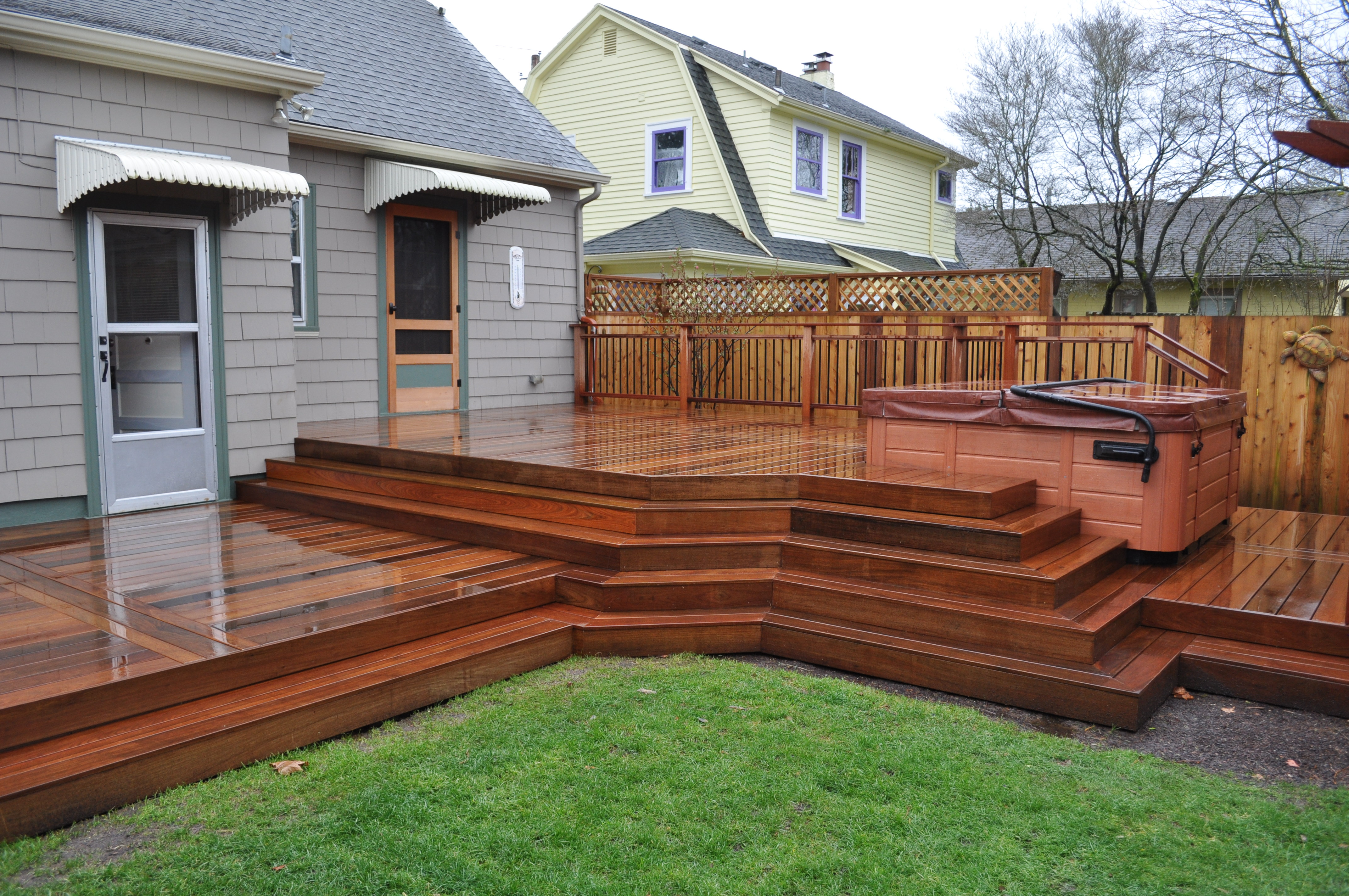 Ipe Deck With Japenese Mahogany Privacy Screen Portland