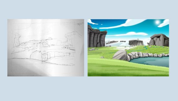 Diergaarde Blijdorp ruwe tekening & uitgewerkte tekening