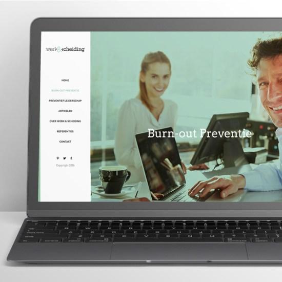 Werkenscheiding laptop met website