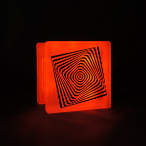 Glass block LED light with Square optical illusion decal
