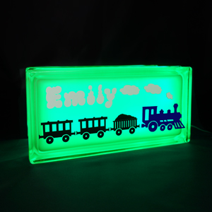 Personalised night light with train