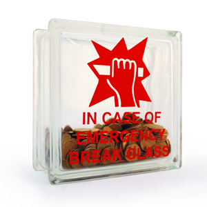Money box glass block break in case of emergency decal