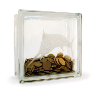 Glass block money box with Marlin etching