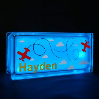 personalised glass block night light with flying plane decal