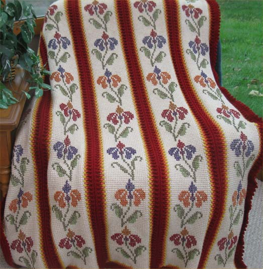 # 509 Flaming Floral Afghan