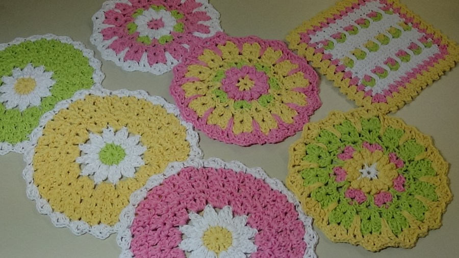 April Showers Dishcloths Pink Lime Green White Yellow
