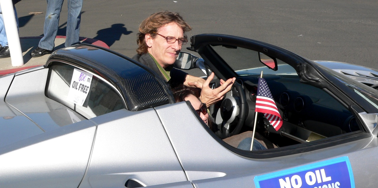 """""""Revenge of the Electric Car"""" director, Chris Payne, in his new Tesla"""