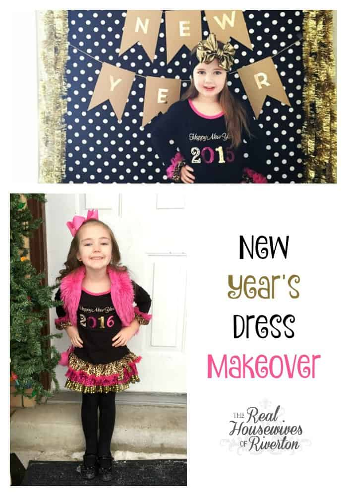 This New Year's Dress Makeover was so simple and got us extended use out of this dress. Check it out at www.housewivesofriverton.com