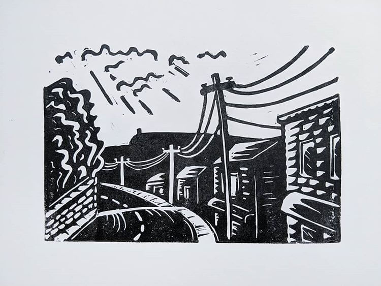 A linocut representation of Main Street New Paltz, by Milo Axelrod