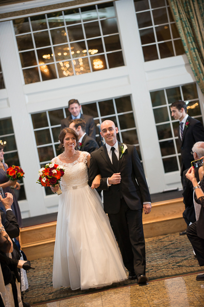 Couple walks down the aisle after Mendenhall Inn wedding ceremony