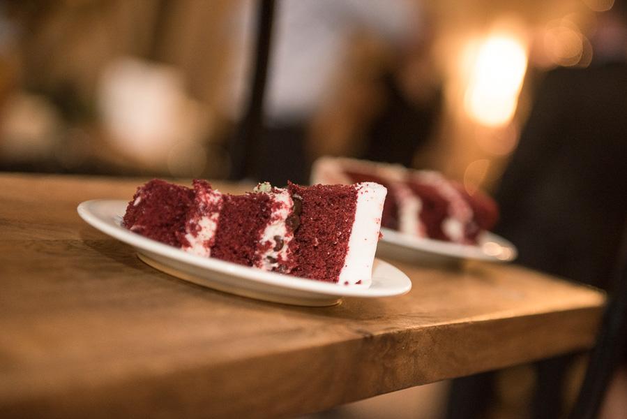 Red velvet wedding cake slices