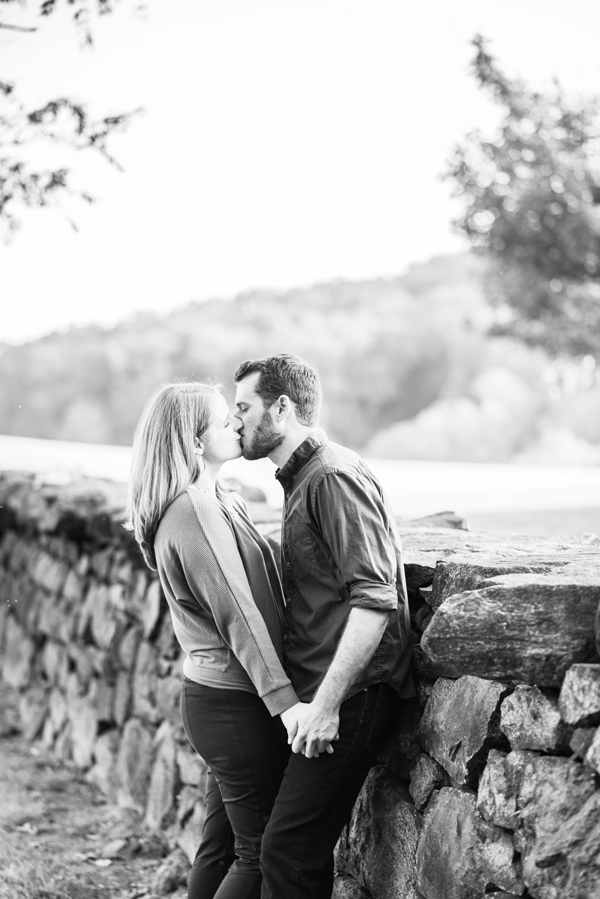 Black and white image of Brandywine Creek engagement session
