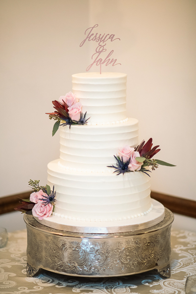 Photo of a wedding cake set up for a reception at The Farmhouse in Delaware