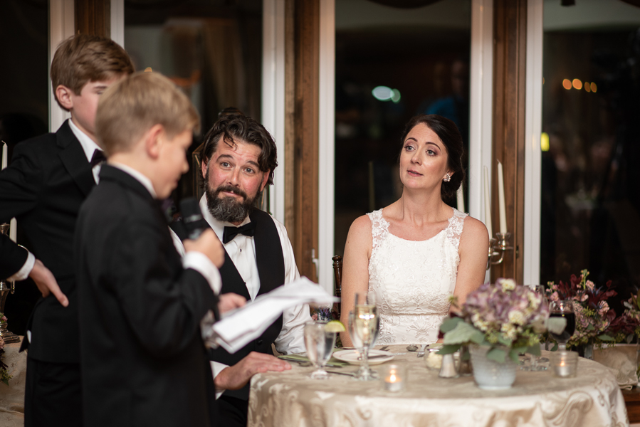 Groom's young son gives speech at wedding reception at The Farmhouse in Delaware