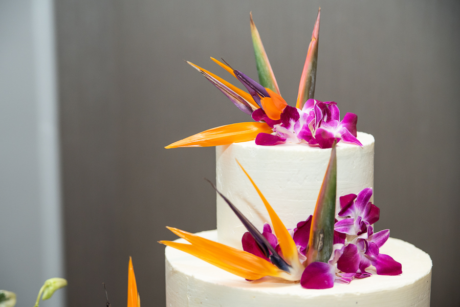Orange and purple tropical floral cake topper for Hilton Christiana wedding