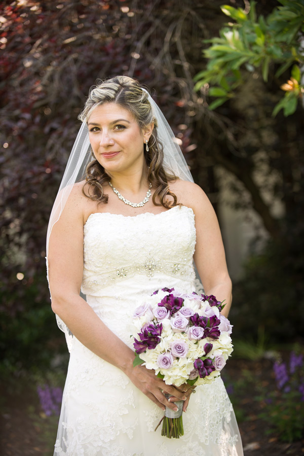 Portrait of bride alone outside at Deerfield Golf Club