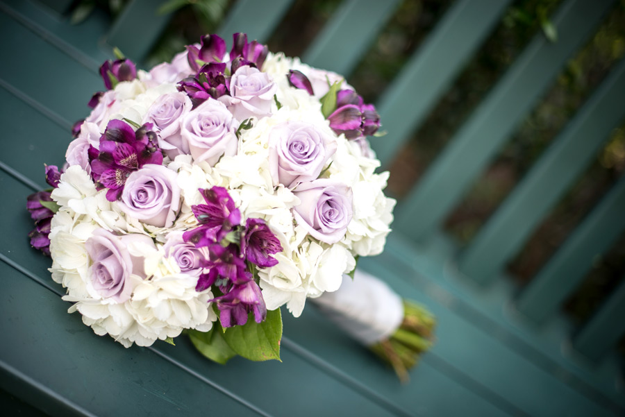 Close up of bridal bouquet on a bench at Deerfield in Newark, Delaware