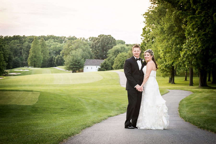 Outside photo of bride and groom at Deerfield wedding