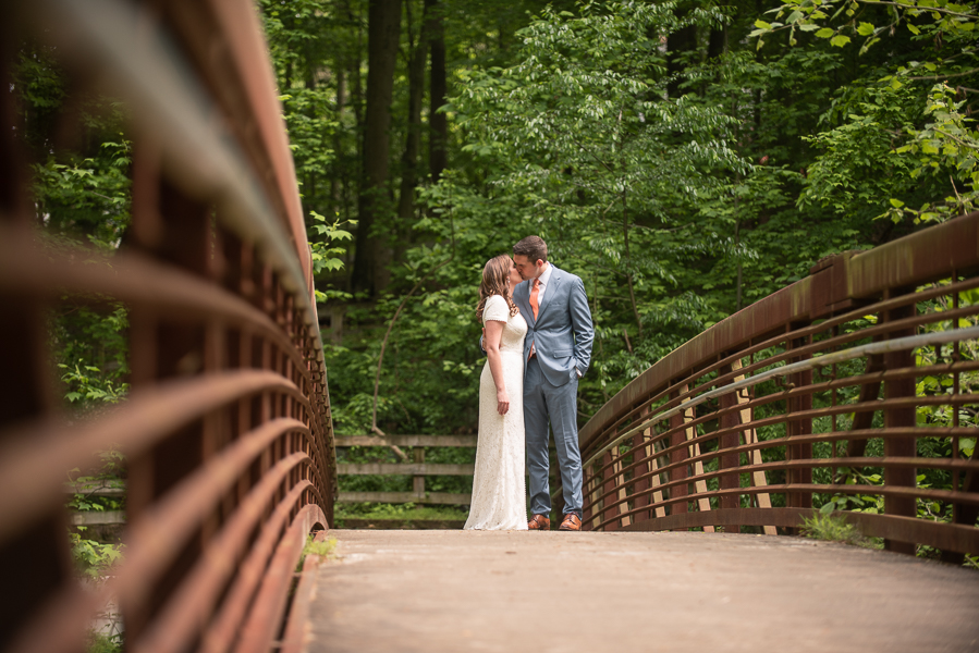 Bride and groom pose before intimate Delaware ceremony