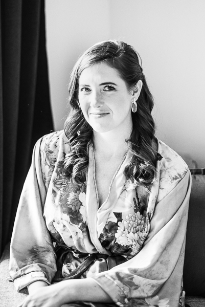Black and white of bride before intimate Delaware wedding