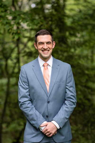 Groom before intimate Delaware wedding