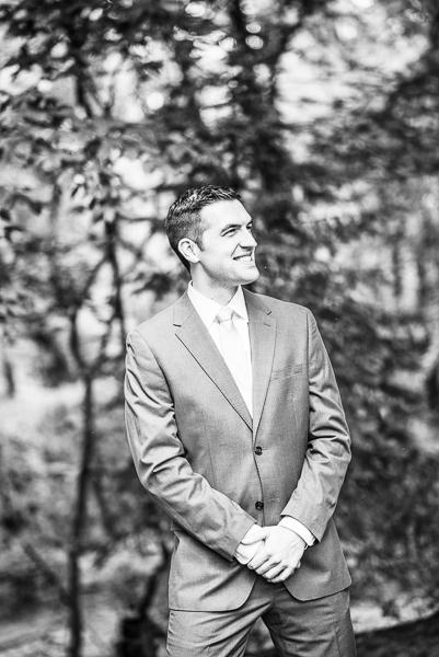 Black and white of Delaware groom