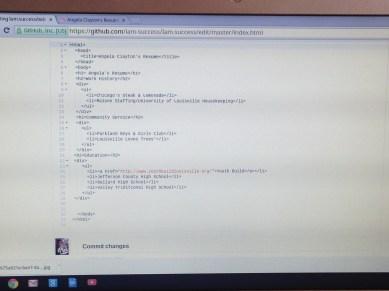 HTML for Angela's resume