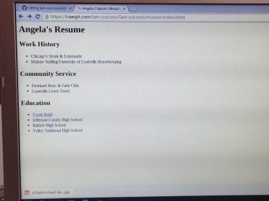 Angela's resume online