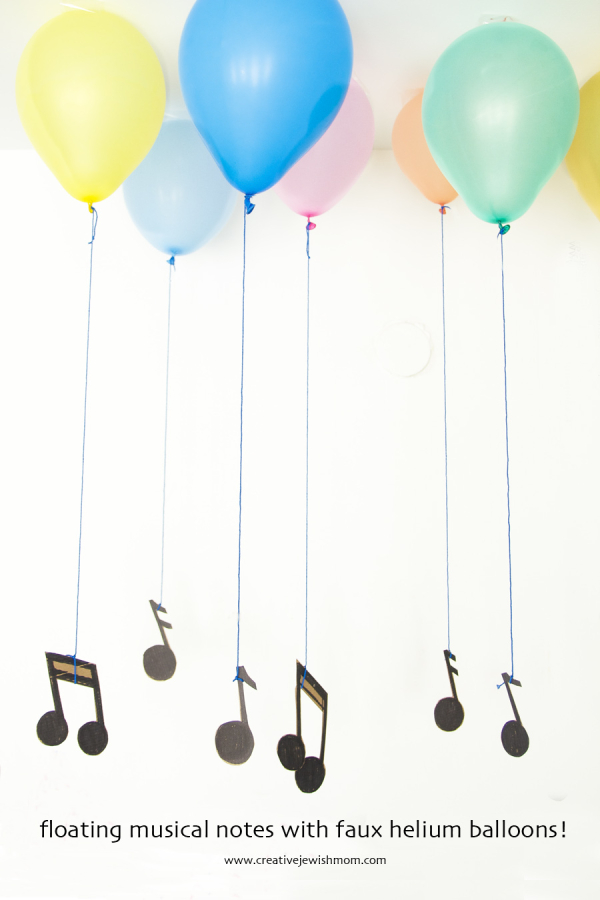 Floating Musical Notes Party Decor With Faux Helium