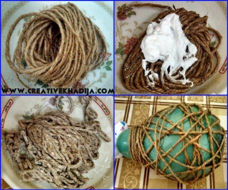 jute nest with modpodge
